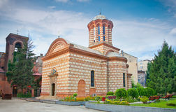 Old court church in Bucuresti, Romania. The 'Sfantul Anton Buna Vestire' (Old court church) in the Old Town area in Bucuresti, Romania royalty free stock photos