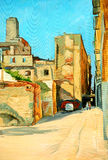 Old court yard in barcelona, painting on a canvas. Old court yard in barcelona, illustration, painting stock illustration