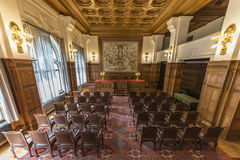 Old PCA Courtroom. Empty courtroom of Permanent Court of Arbitration inside the Peace Palace, Den Haag, Netherlands Stock Photos