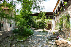 The old courtyard of the monastery Bachkovski Stock Image