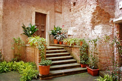 Old courtyard in Rome, Italy Royalty Free Stock Image
