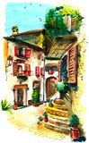 Old courtyard in southern Italy stock illustration