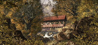 Old Covered Bridge. An old covered bridge in the countryside in the fall season Stock Photo