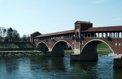 Old сovered вridge in Pavia, Italy. Old `Covered Bridge` in Pavia, Italy. Old Monument in Italy. Nice background stock photos