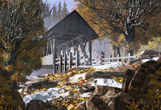 Old Covered Bridge And Robin. An old covered bridge in the fall season with patches of snow and a robin royalty free illustration