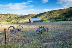 Old Covered Wagon Frame and Barn Stock Photos