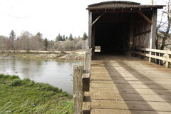 An old covered wood bridge Stock Photo