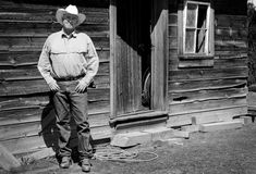 Old Cowboy B/W royalty free stock photos