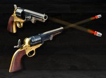 Old Cowboy pistols  Firing. Royalty Free Stock Photography