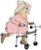 Old cowboy using a walker Royalty Free Stock Photos
