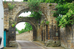Old Cowgarth or gate at Hexham, Northumberland. Old historic cowgate near Abbey in Hexham, Northumberland Royalty Free Stock Image