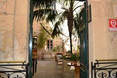 Old cozy cafe in Malta, Mdina. royalty free stock photos