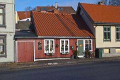 Old and cozy little wooden houses in Halden Royalty Free Stock Images