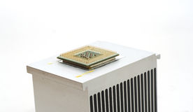 Old CPU on heatsink Stock Photo