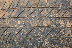 Old crack car tire with brown dirt Stock Images