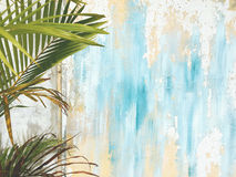 Old Cracked Antique Vintage Historic House Wall and Palm Tree Leaf Branch. Tropical Exotic Thai Summer Tourist Travel Royalty Free Stock Image