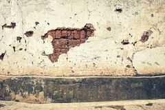 Old cracked building wall background. Old cracked building wall background, color toning applied Stock Photography