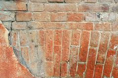 Old cracked concrete vintage circular masonry brick wall background, Texture terracotta pattern Royalty Free Stock Image