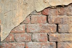 Old cracked concrete vintage plastered brick wall background, Texture terracotta pattern Stock Photos