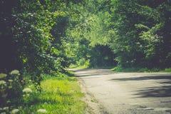 Sunny Cracked Rural Road Filtered. Old cracked, damaged asphalt road in countryside at sunny day, vintage background Stock Images