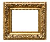 Old cracked gilded frame on white stock images