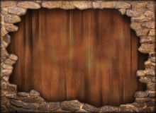 Old cracked medieval wall. Hole in a stone medieval wall of a fortress Vector Illustration