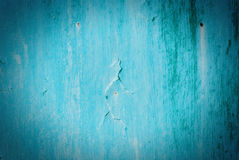 Old cracked painted texture. Rusty blue wood. Stock Photography