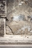 Old cracked plaster and brick wall stock photography