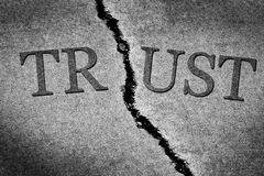 Broken Trust Illustrated with Cracked Concrete royalty free stock photography