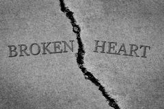 Old Cracked Sidewalk Cement  Broken Heart Words. Old cracked sidewalk cement broken heart concept Royalty Free Stock Image