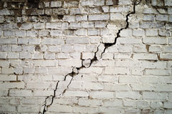 The old cracked wall. A large crack in the old brick wall Royalty Free Stock Photos