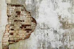 The old cracked wall of the abandoned ruins Stock Photography