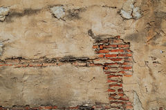 The old cracked wall of the abandoned ruins Royalty Free Stock Image