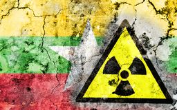Old cracked wall with radiation warning sign and painted flag Royalty Free Stock Image