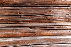 Old cracked wooden beams. Detail of a wooden wall. Old cracked wooden beams. Detail of a wooden wall stock image