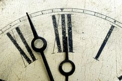 Old cracklequere finish clock face. Old antique clock face and hands close-up detail. Cracklequere finish to face Stock Image