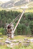 Old crane in the Canfranc International Railway Station Royalty Free Stock Photo