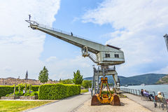 Old crane with iron man in Bingen, Royalty Free Stock Image