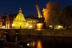 Old Crane at Lueneburg harbor Stock Photo