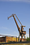 Old crane. In a naval yard, near Harsova, Romania Stock Photos