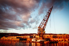 An old crane in the port of Trieste Royalty Free Stock Photography