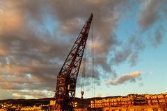 An old crane in the port of Trieste Stock Photography