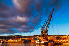 An old crane in the port of Trieste Stock Photos