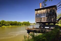 Old Crane in Sisak. Old steam crane on the river Kupa in Sisak, a local landmark Royalty Free Stock Photos