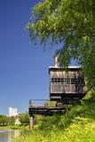 Old Crane in Sisak. Old steam crane on the river Kupa in Sisak, a local landmark Royalty Free Stock Images