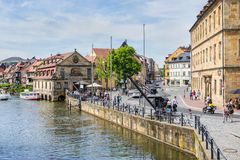 Old cranes on the banks of the Regnitts river in Bamberg, German Royalty Free Stock Photography