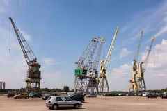 Old cranes in the port of Antwerp, Belgium Stock Image