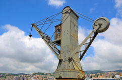 Old cranes in the port of Genoa Royalty Free Stock Images