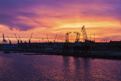 Old cranes in Szczecin Stock Photography