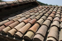 Old crash of wooden shingles. Closeup Stock Images